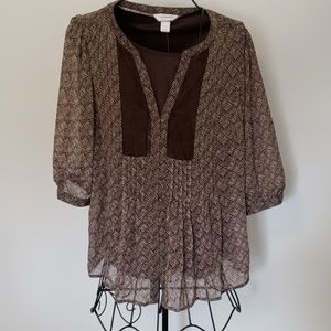 NWT CJ Banks brown patterned layers blouse